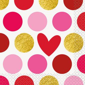 Hearts and Dots Beverage Napkins (16)