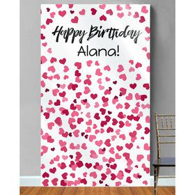 Hearts Personalized Photo Backdrop (Each)