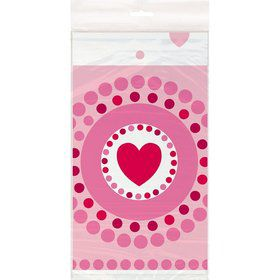 Hearts Plastic Table Cover (Each)