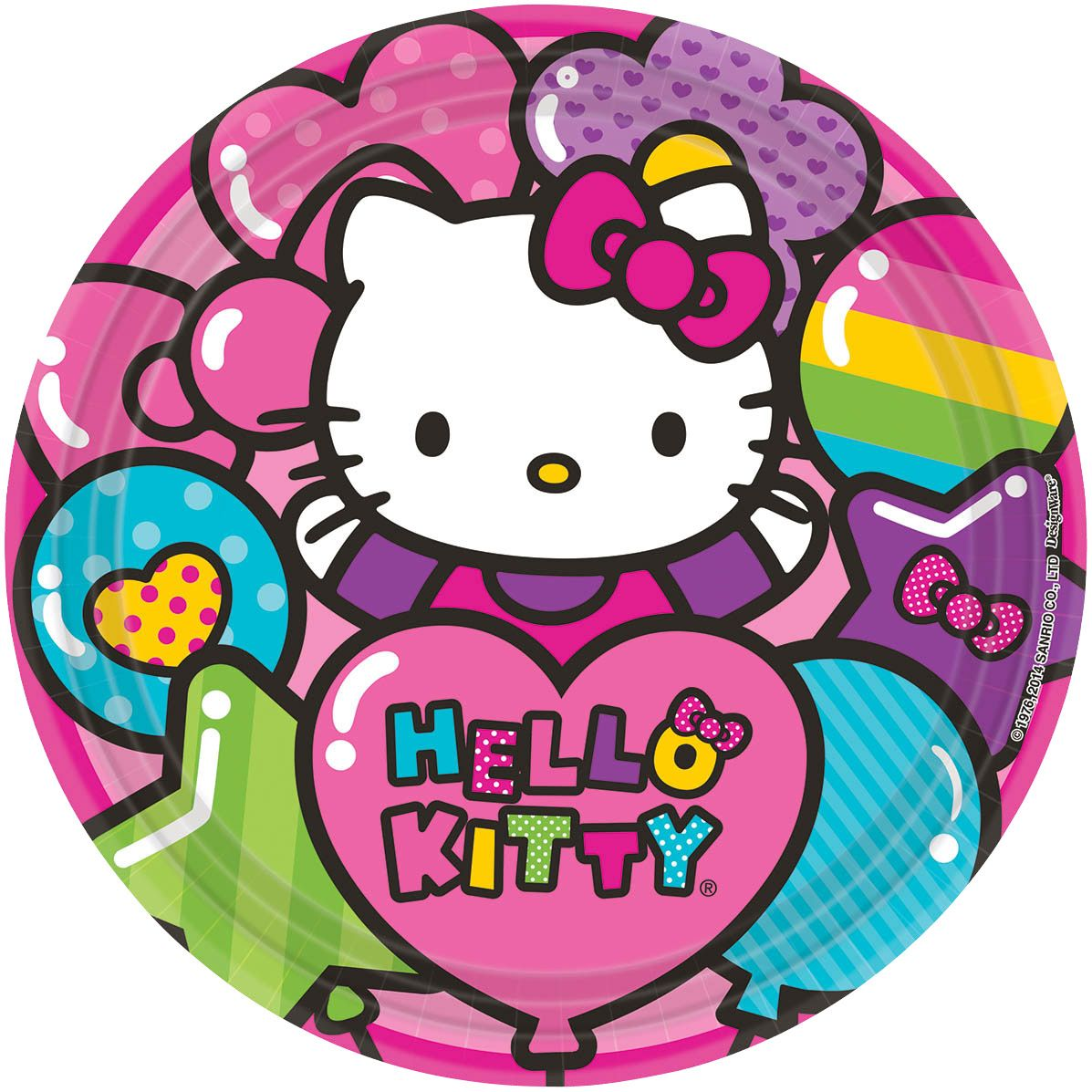 "Hello Kitty Rainbow 9"" Luncheon Plates (8 Pack) - Party Supplies BB551417"