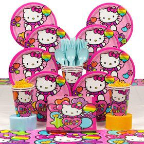Hello Kitty Rainbow Birthday Party Deluxe Tableware Kit Serves 8