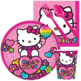 Hello Kitty Rainbow Birthday Party Standard Tableware Kit Serves 8