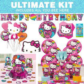 Hello Kitty Rainbow Birthday Party Ultimate Tableware Kit Serves 8