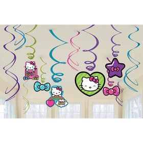 Hello Kitty Rainbow Hanging Foil Swirl Decorations (Each)