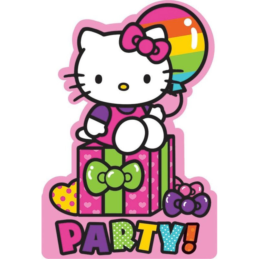 Hello Kitty Rainbow Invitations (8 Pack) - Party Supplies BB491417