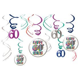 Here's to Your 60th Birthday Hanging Swirl Decorations