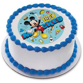 "Hey Mickey 7.5"" Round Edible Cake Topper (Each)"