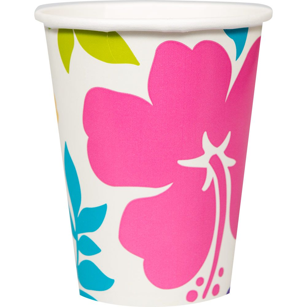 Hibiscus White (25 Count) Birthday Party Supplies Cups BB681077