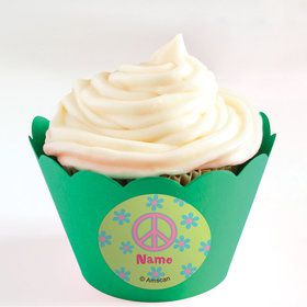 Hippie Chick Personalized Cupcake Wrappers (Set of 24)