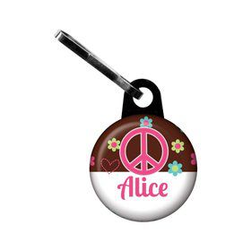 Hippie Chick Personalized Mini Zipper Pull (each)