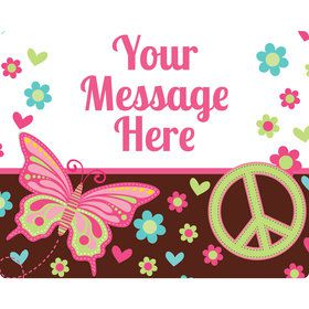 Hippie Chick Personalized Rectangular Stickers (Sheet of 15)