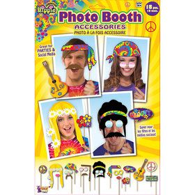 Hippie Photo Booth Props (18 Pieces)
