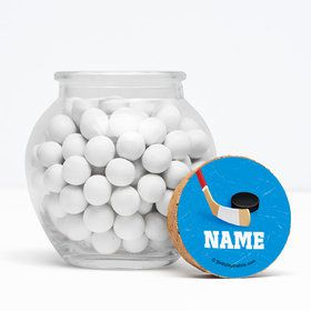 """Hockey Party Personalized 3"""" Glass Sphere Jars (Set of 12)"""