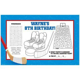 Hockey Party Personalized Activity Mat (8 pack)