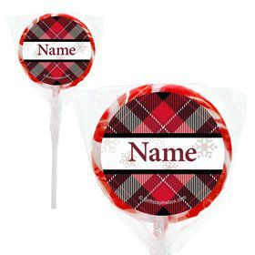 "Holiday Plaid Personalized 2"" Lollipops (20 Pack)"