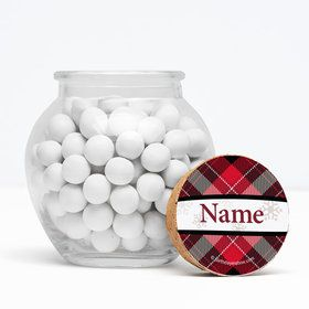 """Holiday Plaid Personalized 3"""" Glass Sphere Jars (Set of 12)"""