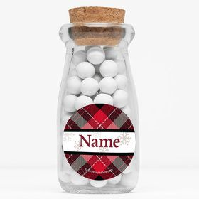"Holiday Plaid Personalized 4"" Glass Milk Jars (Set of 12)"