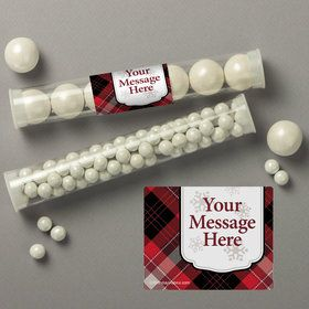 Holiday Plaid Personalized Candy Tubes (12 Count)