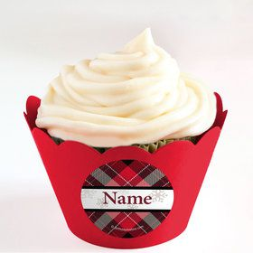 Holiday Plaid Personalized Cupcake Wrappers (Set of 24)
