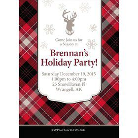 Holiday Plaid Personalized Invitation (Each)