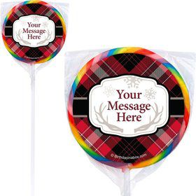 Holiday Plaid Personalized Lollipops (12 Pack)