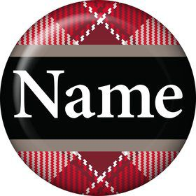 Holiday Plaid Personalized Mini Button (Each)