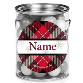 Holiday Plaid Personalized Mini Paint Cans (12 Count)