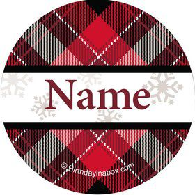 Holiday Plaid Personalized Mini Stickers (Sheet of 20)