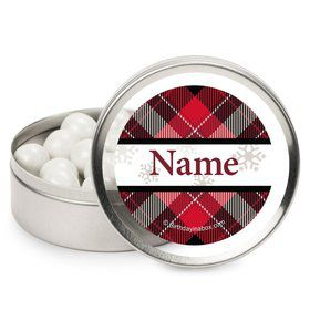 Holiday Plaid Personalized Mint Tins (12 Pack)