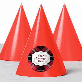 Holiday Plaid Personalized Party Hats (8 Count)