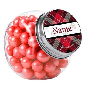 Holiday Plaid Personalized Plain Glass Jars (12 Count)