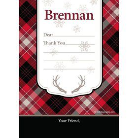 Holiday Plaid Personalized Thank You (Each)