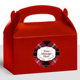 Holiday Plaid Personalized Treat Favor Boxes (12 Count)