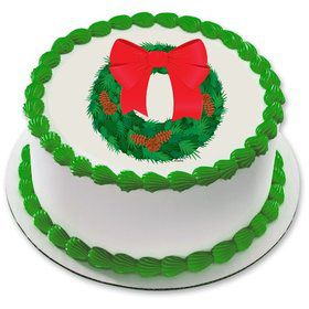 "Holiday Wreath 7.5"" Round Edible Cake Topper (Each)"