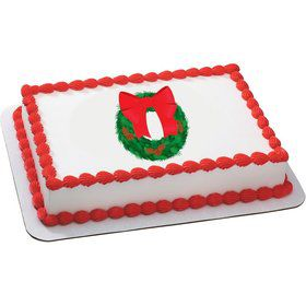 Holiday Wreath Quarter Sheet Edible Cake Topper (Each)