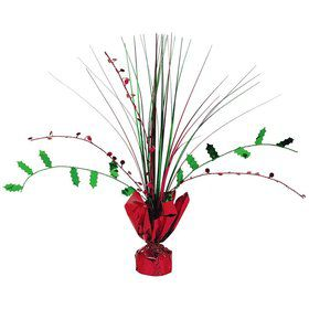"Holly 12"" Foil Spray Centerpiece (Each)"