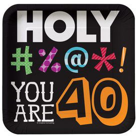 Holy Bleep 40Th Birthday Cake Plates (8 Pack)