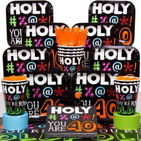 Holy Bleep 40Th Birthday Party Deluxe Tableware Kit