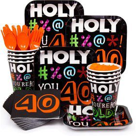 Holy Bleep 40Th Birthday Party Standard Tableware Kit