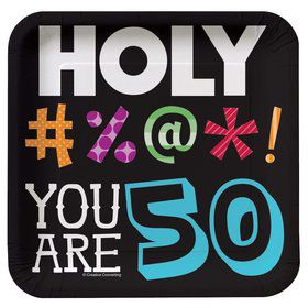 Holy Bleep 50Th Birthday Cake Plates (8 Pack)
