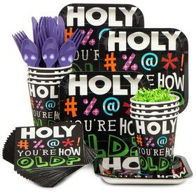 Holy Bleep Birthday Party Standard Tableware Kit Serves 8