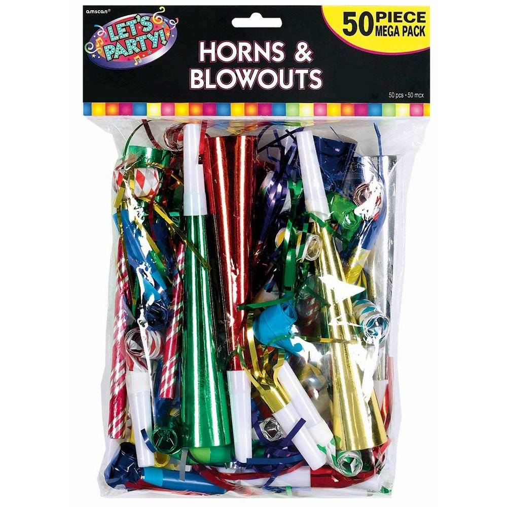 Horn & Blowout Multicolor Value Pack (50 Count) - Party Supplies BB339620