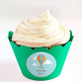 Hot Air Balloon Personalized Cupcake Wrappers (Set of 24)