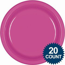 "Hot Pink 10"" Plastic Dinner Plates (20 Pack)"