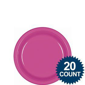 "Hot Pink 7"" Plastic Cake Plates (20 Pack)"