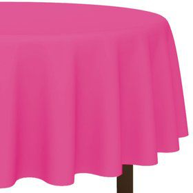 "Hot Pink 84"" Plastic Round Table Cover (Each)"