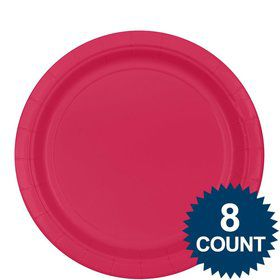 "Hot Pink 9"" Paper Plate (8 Count)"