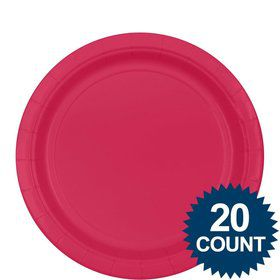 "Hot pink 9"" Paper Plates, 20ct."
