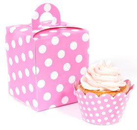 Hot Pink and White Polka Dot Cupcake Wrapper Box Kit