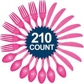 Hot Pink Cutlery Set (210 Pack)